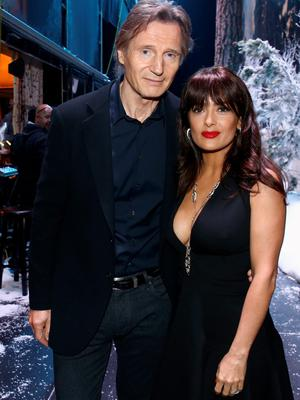Actors Liam Neeson (L) and Salma Hayek attend Spike TV's Guys Choice 2015 at Sony Pictures Studios