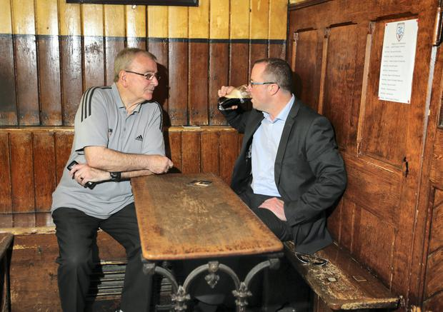 Eugene Kavanagh owner of Kavanaghs Public House in Glasnevin pictured chatting with the Evening Herald's Conor Feehan.
