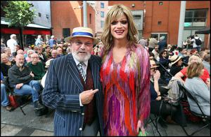 Senator David Norris and Panti Bliss who took part in the Bloomsday Readings in Meeting House Square in Temple Bar