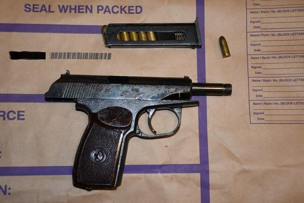 The gun seized by gardai after the swoop by armed officers