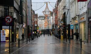 A deserted Grafton Street yesterday as Nphet urged more people to stay home