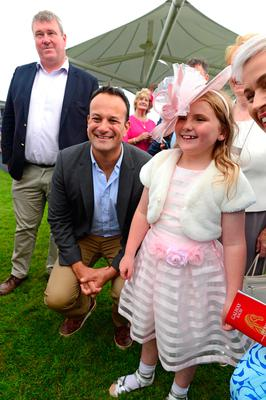 Leo Varadkar posed with Aoibheann Gill at the Galway Races yesterday – he's yet to meet with the new British PM