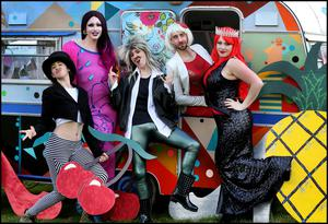 Getting ready for the Electric Picnic at Stradbally Co Laois was Carina Butterfly, Candy Warhol, Flaming Jade, Fabio Ego Deflato and Shir Madness from The Gladrags and Glam Fags Stage.