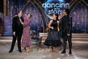 Fr Ray Kelly with Pro dancer Kylee Vincent pictured after they were voted out  during the live show of Dancing with the stars.