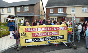 Protesters in the Hansfield development demonstrate in support of homeless people