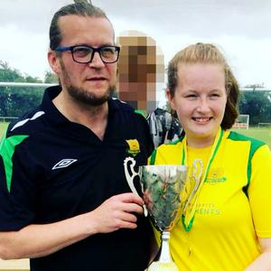 Crash victim Amy English, a keen soccer player, pictured with her dad James
