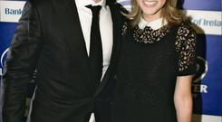 Brian O Driscoll and Amy Huberman arriving at the Leinster Rugby Awards night in the Mansion House, Photo Garrett White