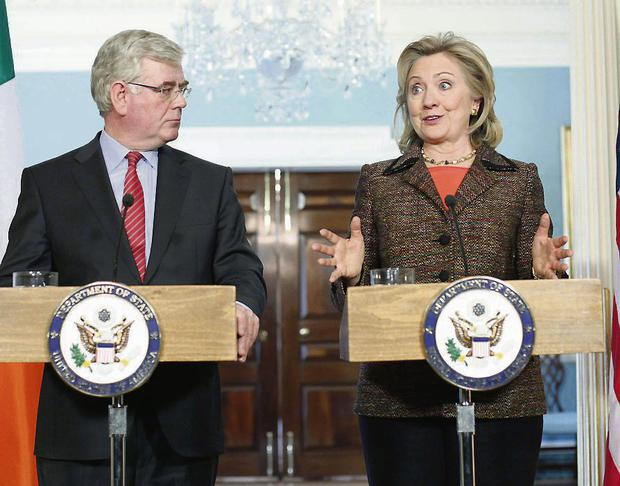 Eamon Gilmore gave Hillary Clinton a ceramic currach by Clodagh Redden