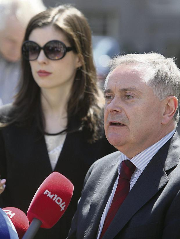 TD Brendan Howlin with his press officer Aine Griffin. Photo: Damien Eager