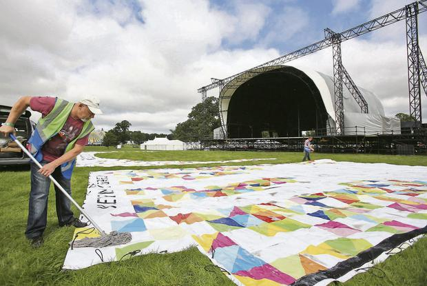 Preparing the main stage for Electric Picinic 2013 at Stradbally Hall, Co Laois. Photo: Colin Keegan, Collins.
