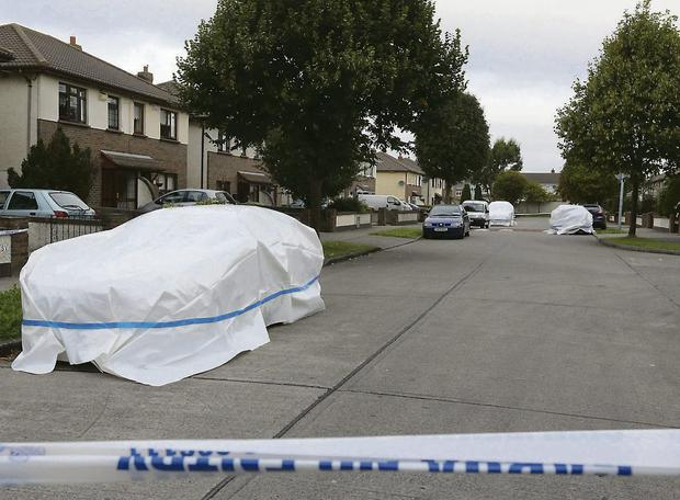 Three cars covered at the scene of the killing of Jason Carroll. Photo: Colin O'Riordan