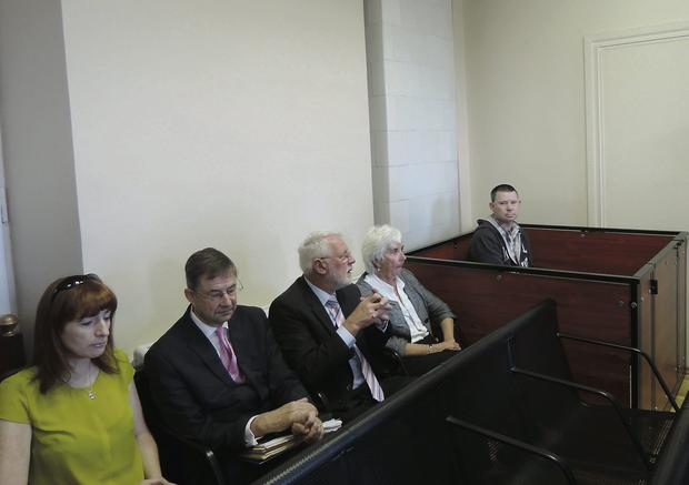 COURT: TDs Claire Daly, Eamon O Cuiv, Martin Ferris and Maureen O'Sullivan; far right, gun-runner Michael Campbell in the dock