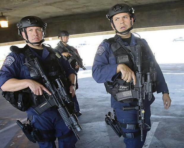 LOCKDOWN: Security agents on patrol at LAX airport