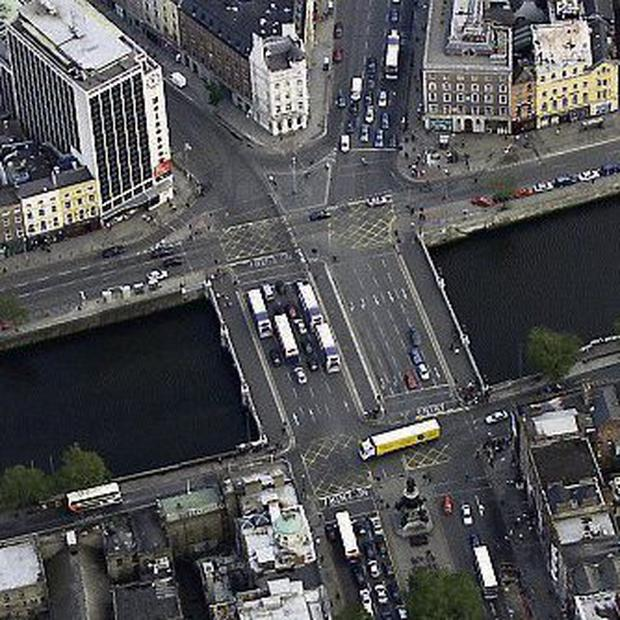 An aerial view of O'Connell Bridge