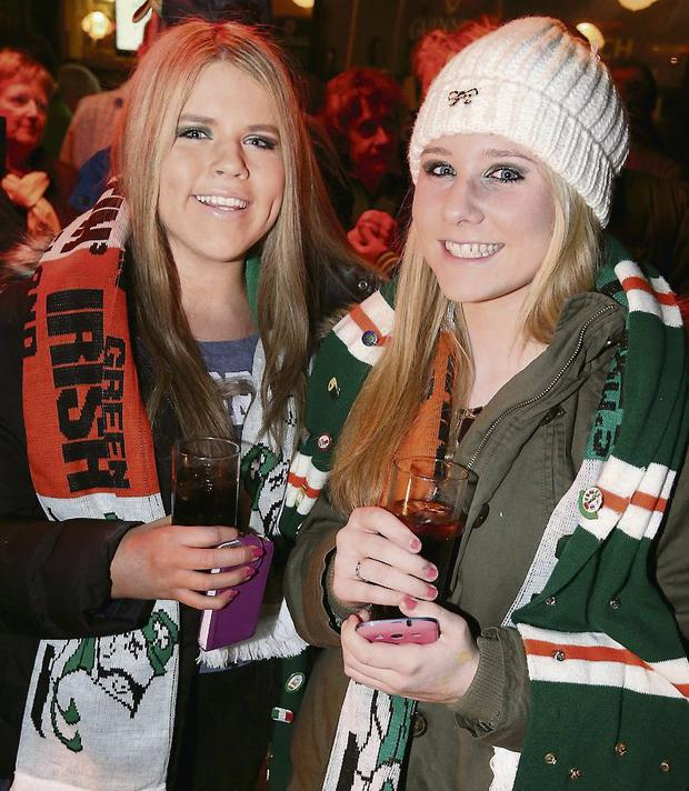 Pictured at the Aviva Stadium last night: Julia O'Connor and Zara Egan