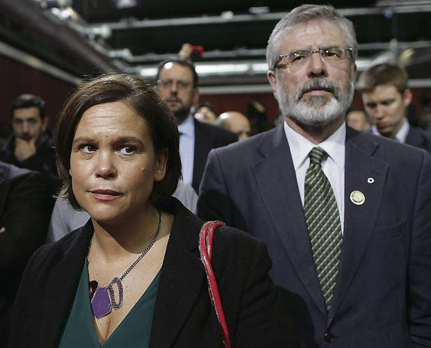 Sinn Fein president Gerry Adams and Vice President Mary Lou McDonald. Photo: Julien Behal/PA Wire