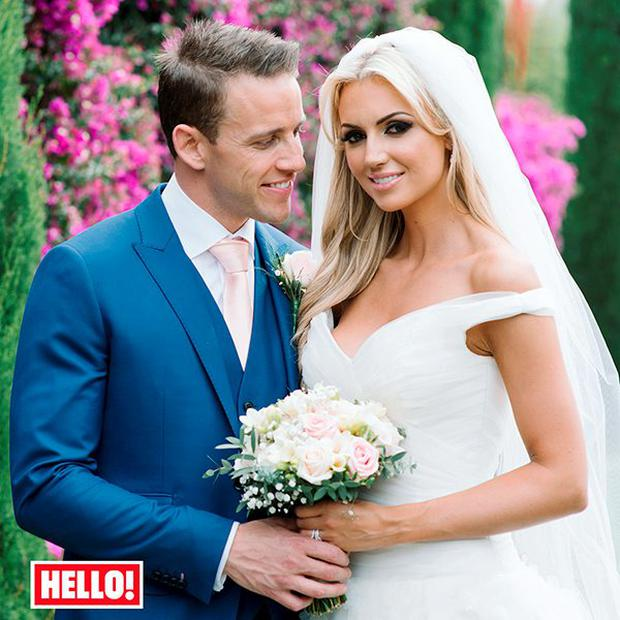 The first picture of Rosanna Davison's wedding dress. She is pictured with husband Wesley Quirke. Photo: Hello magazine