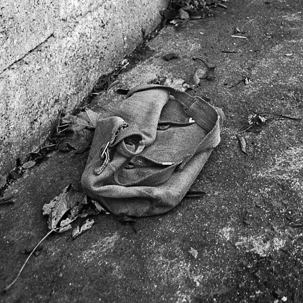 The schoolbag belonging to 13 year old schoolboy Philip Cairns in a laneway near his home on Ballyroan Road, Rathfarnham