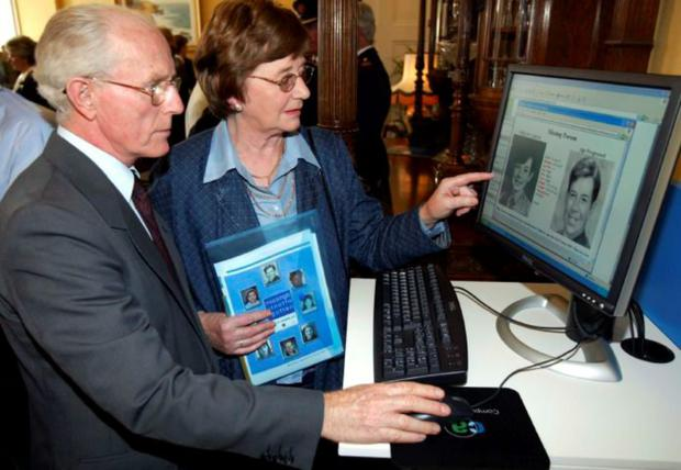 Alice and Philip Cairns, parents of Philip Cairns who went missing in 1986 at the launch of the new website ie.Missingkids.com at Garda Headquarters in Phoenix Park (14/09/04)