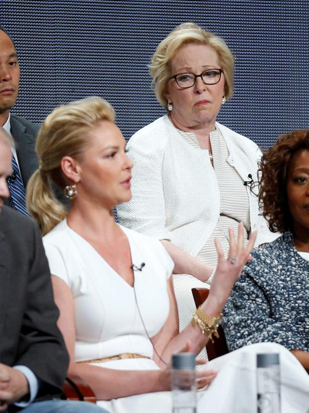 Cast member Katherine Heigl speaks as her mother and executive producer Nancy Heigl looks on during a panel for the television show