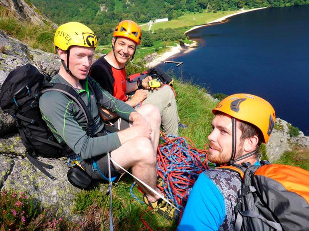 Colm Ennis (left) and Peter Britton (middle) who died while climbing Mont Blanc Pictured here climbing at Luggala.