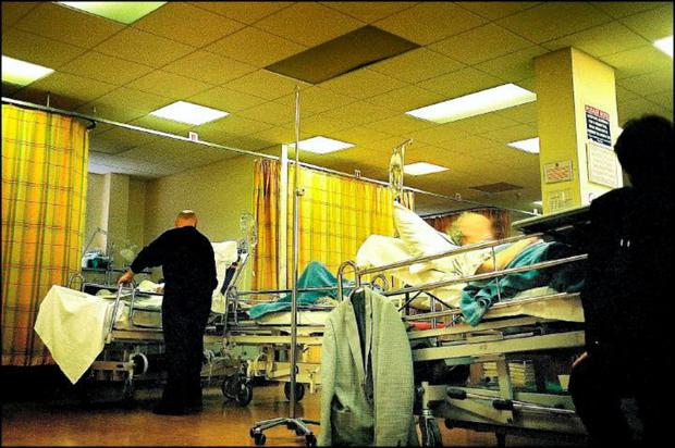 People on trolleys in Beaumount Hospital accident and emergency ward