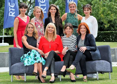 Back row, from left, Aoibhinn Ni Shuilleabhain, Derval O'Rourke, Leah Egan, (Fair City) Sorcha Furlong, (Fair City) Aisling Franciosi, (The Fall) front row from left, Kathryn Thomas (Operation Transformation and The Voice), Miriam O'Callaghan (Prime Time), Aoibhinn McGinnity (Love Hate) and Blathnaid NiChofaighpictured this afternoon at the launch of RTE 1's new season of programming at Montrose.