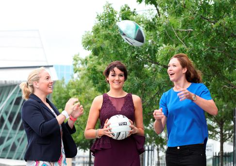 Niamh Briggs and Maria Louise Riley, Irish Womens Rugby stars pictured with Grainne McElwain TG4 (centre)