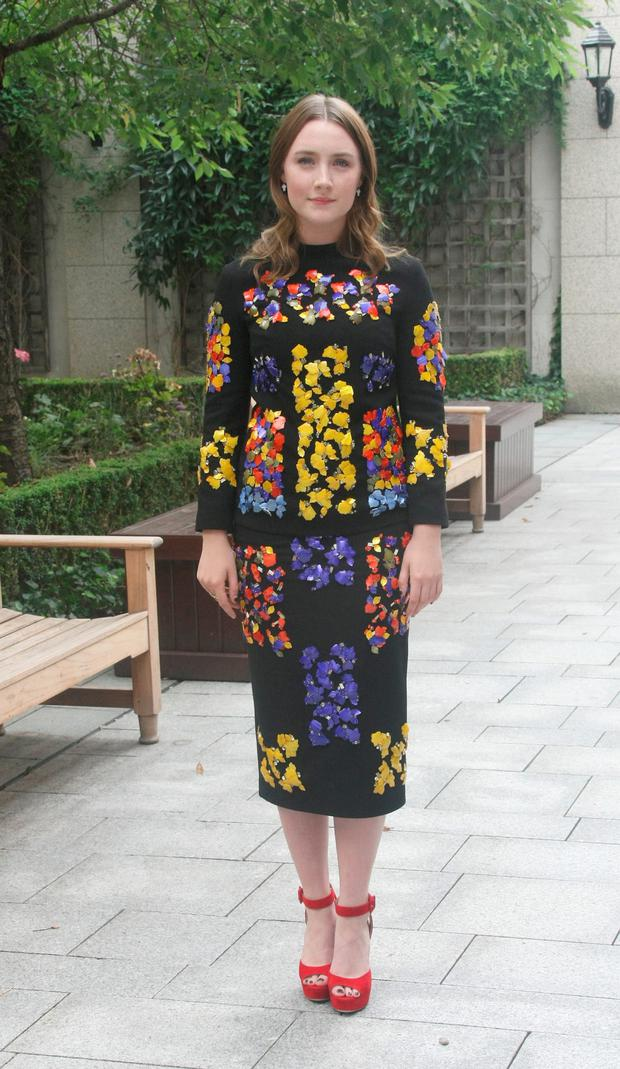 Date : Friday 5.9.14, the Four Seasons Hotel, Dublin, Ireland.Pictured @ The annual ISPCC lunch where Sharon Corr hosted, special guests were Louis Walsh & Saoirse Ronan (actress)L to r: Saoirse Ronan wearing Peter Pilotto dress & Miu Miu shoes.Pics : Mark Doyle 087-2837342, Dublin, Ireland.