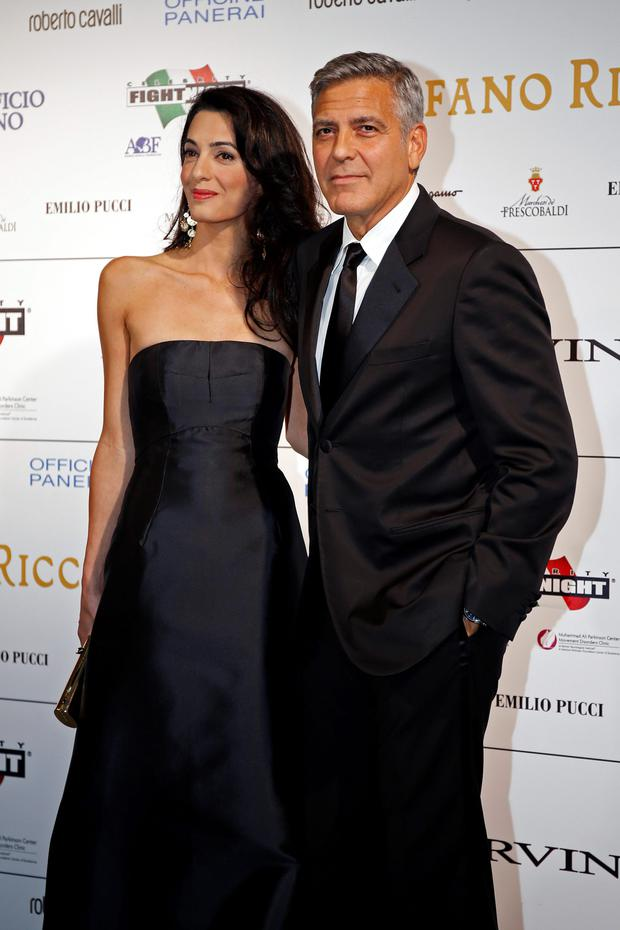 George Clooney with his fiancee, Amal Alamuddin