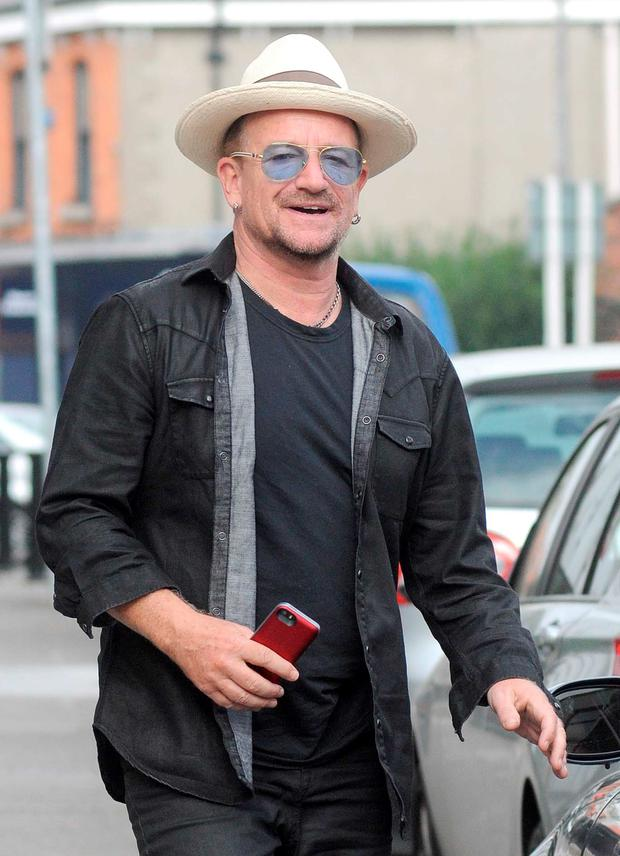 U2's Bono spotted today in Ballsbridge with what appears to be the new iphone 6 in his hand as he walked to his car.
