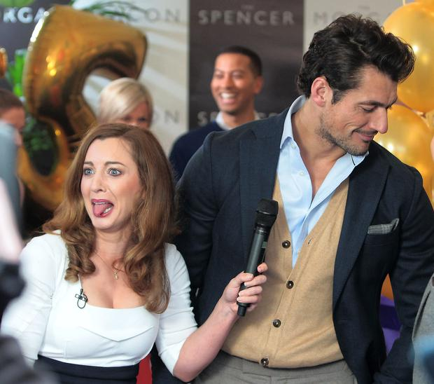 Sinead Desmond and Male model David Gandy pictured this morning at Tv3's Ireland Am 15th birthday bash at Tv3 Studio's in Ballymount Dublin