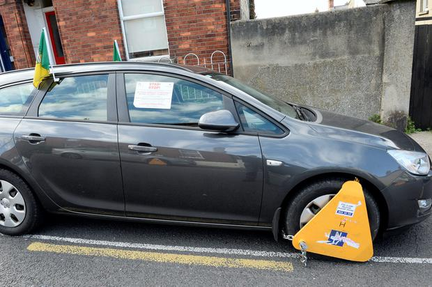 Donegal car clamped
