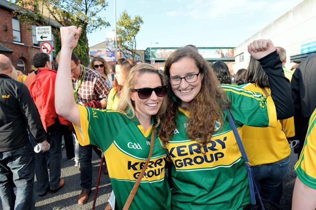 Kerry fans after the All Ireland final. Pictured Karena Slattery and Jemma O'Connell Tralee. Bryan Meade