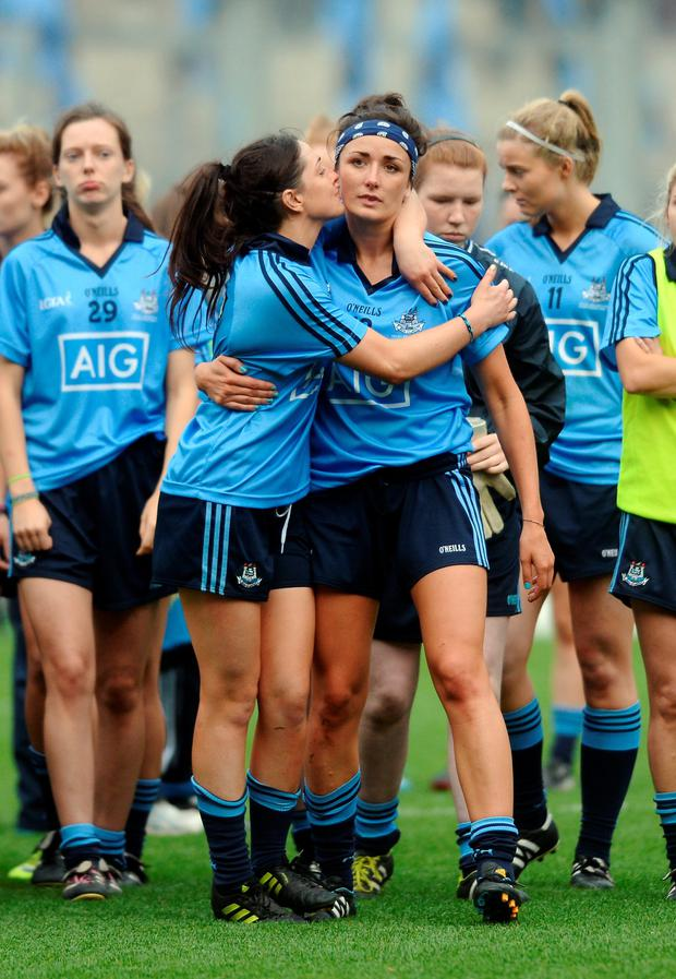 Sinead Goldrick, left, consoles Niamh McEvoy after the game.
