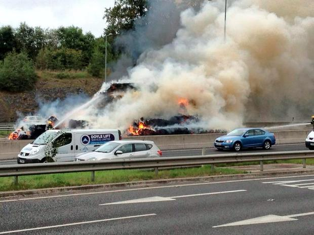 A fire in a truck on the M50 northbound at Blanchardstown on 30/9/2014