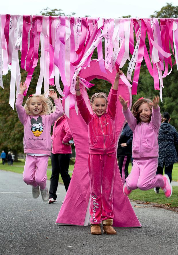 Sisters Alex, 7, Robin, 11 and Eva, 8, Keating (grandchildren of Marie Keating and nieces of Ronan Keating) at the Re/Max Walk For Life in aid of the Marie Keating Foundation in the Phoenix Park yesterday