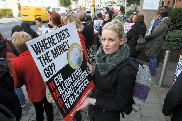 Aimee Tebay, pictured at the Nurses protest at Bord Altranais at Blackrock yesterday.