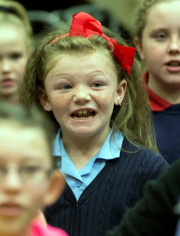 Katelyn Morgan from Holy Spirit Girls National School & rehearsing with Ballymun musical group at RTE Radio Centre today, ahead of One Young World Summit