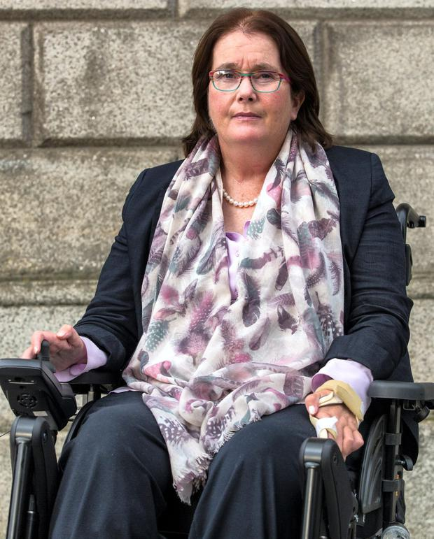 PIC SHOWS: Deirdre Bourns, of Eyrecourt, Co. Galway, leaving court yesterday (TUES), after the first day of her personal injuries action.