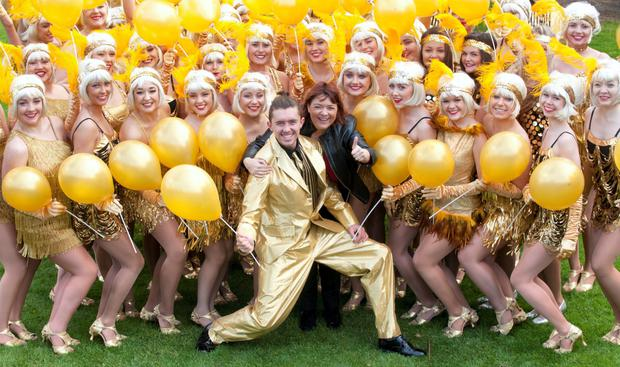 Ryan O'Shaughnessy and Brenda Donoghue (RTE) pictured with 50 pupils from The Billie Barry Stage School released 50 GOLD BALLOONS to launch THE BILLIE BARRY STAGESCHOOL 50TH ANNIVERSARY Presentation of