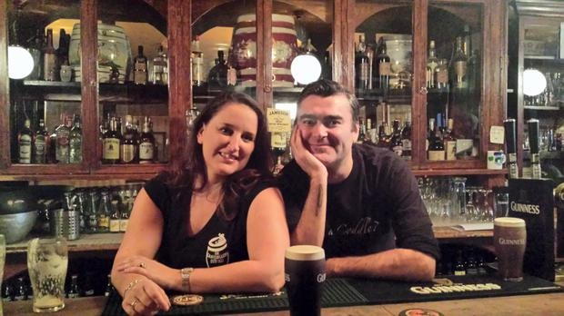 Alfreda and husband Ciaran serve up a treat in Kavanagh's pub, aka the Gravediggers in Glasnevin