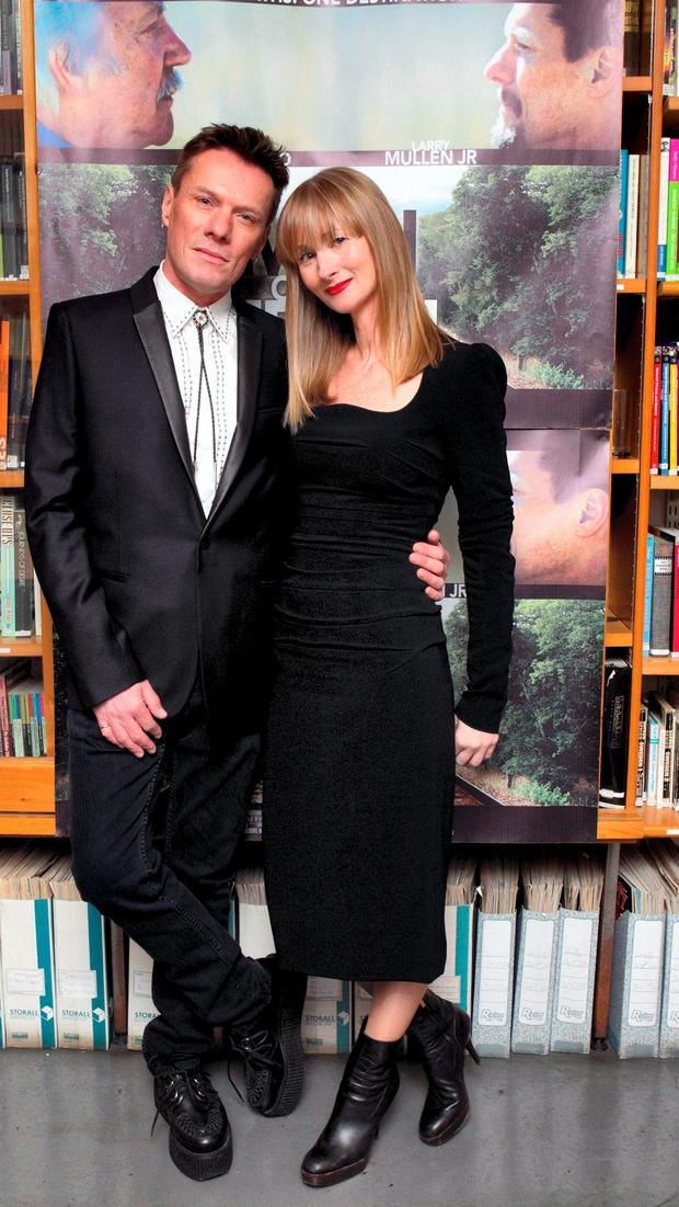 Larry Mullen with his Partner Ann Acheson (ass Producer) pictured at a Public screening of 'A Man On The Train' which stars in the IFI Cinem