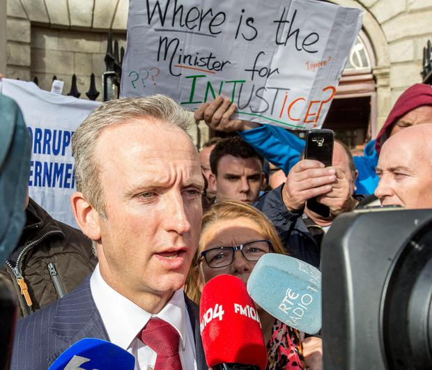 Cahir O'Higgins, solicitor for a group of anti water charges protesters, who are the subject of a High Court injunction, speaking to the media outside the High Court yesterday, after the hearing was adjourned until November.