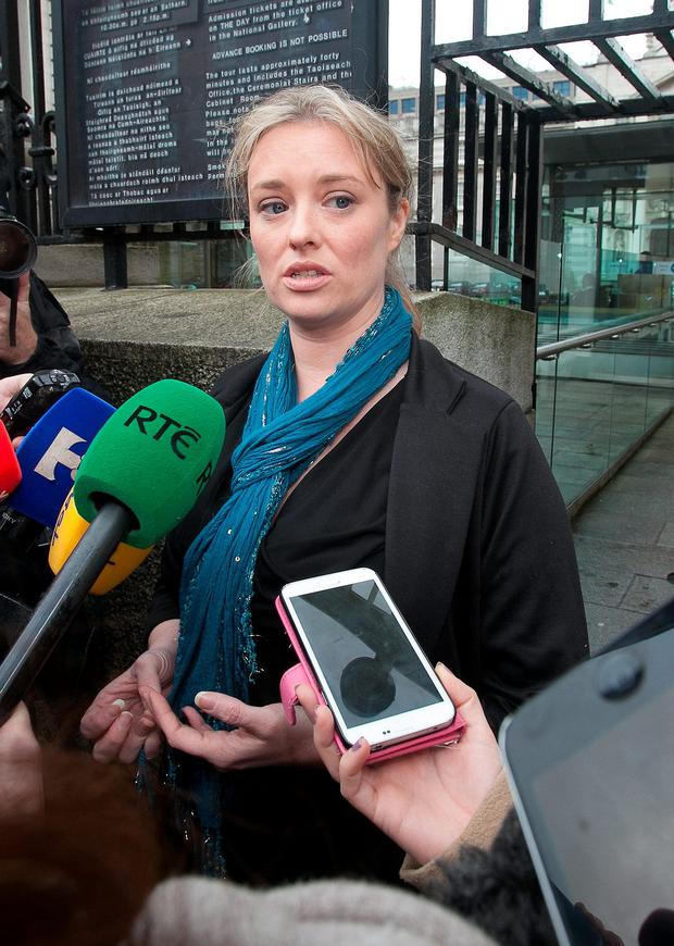 22/10/2014 Mairia Cahill speaking to media following a meeting with Taoiseach Enda Kenny TD outside Government Buildings, Dublin. Photo: Gareth Chaney Collins