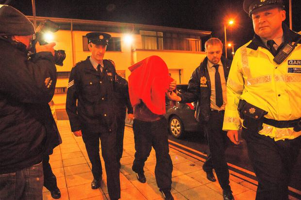 Julian Cuddihy, 42, arriving at a special sitting in Ballyshannon District Court this evening.