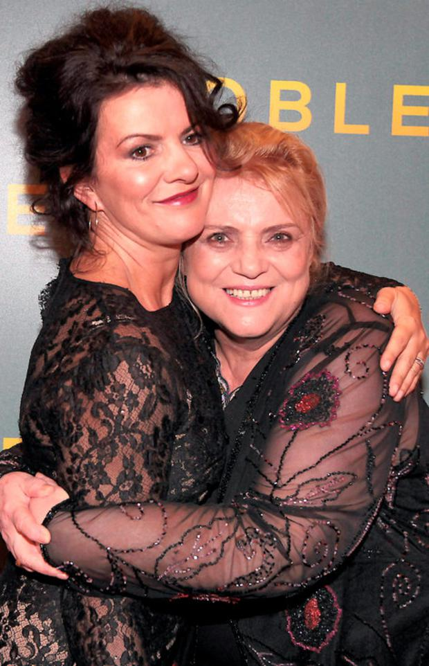 Christina Noble and actress Deirdre O Kane who plays her in the movie at The Irish Gala Screening of NOBLE at the Savoy Cinema on O'Connell Street, Dublin Pictures:Brian McEvoy