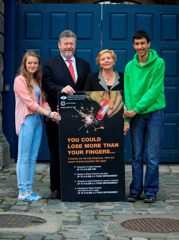 Niamh McCann 17 from Castlerea, Minister for Children and Youth Affairs, Dr. James Reilly T.D Minister for Justice and Equality, Frances Fitzgerald T.D Antonio Lawson from Killeevan Co Monaghan highlight the dangers associated with the use of illegal fireworks this Halloween