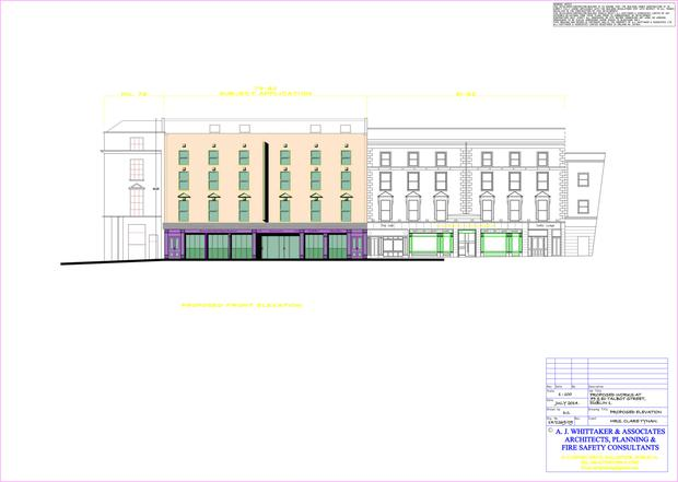 Proposed hotel plans for Guiney's on Talbot Street, which was refused