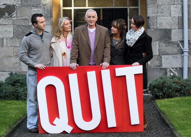 Gerry Collins (centre) pictured with family (L-R) son Stephen,wife Delly and daughters Ciara and Lisa at Stevens Hospital Co Dublin for the launch of the HSE advert against smoking